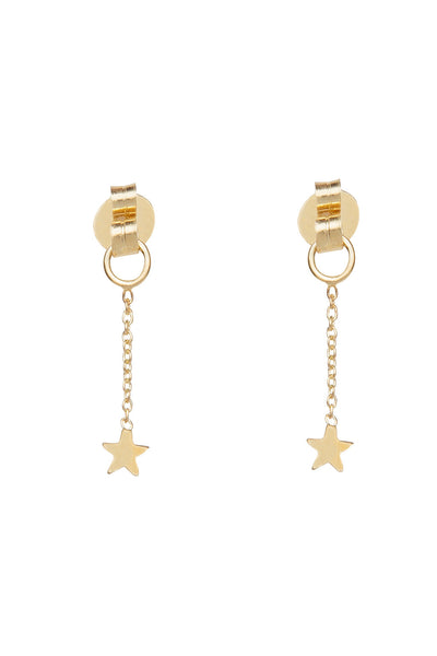 GOLD STAR HOOP EARRINGS WITH FALLING STAR BACKS