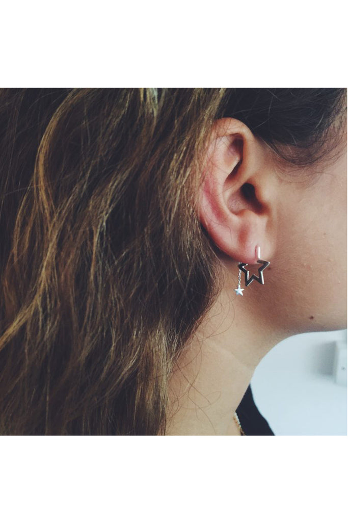 ROSE GOLD STAR HOOP EARRINGS WITH FALLINGS STAR BACKS