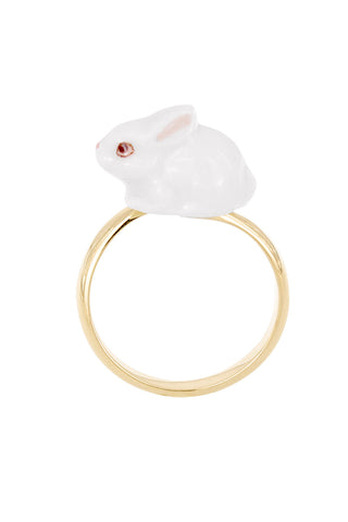 WHITE RABBIT ADJUSTABLE RING