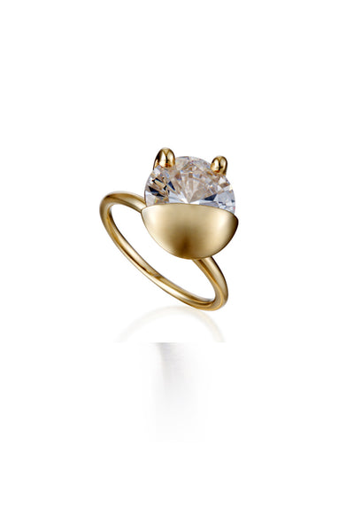 YELLOW GOLD POCKET CRYSTAL RING