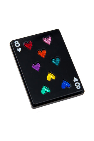 PLAY YOUR CARD RIGHT BLACK BROOCH