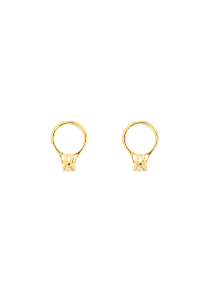 GOLD SOLITAIRE DIAMOND RING EARRINGS