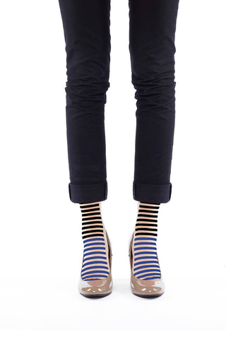 BLACK AND BLUE STRIPE FLOCKED SOCKS
