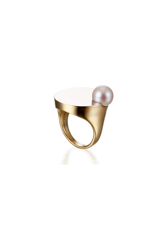 YELLOW GOLD DOUBLE MIRROR PEARL RING