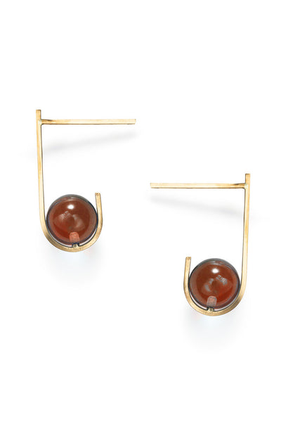 AMBER GLASS BALL EARRINGS