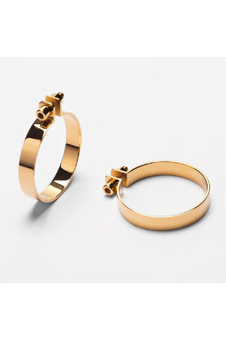 GOLD SCREW HOOP EARRINGS