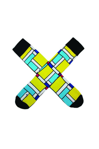 YELLOW MONDRIAN SOCKS