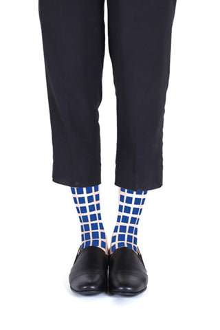 BLUE SQUARE FLOCKED SOCKS