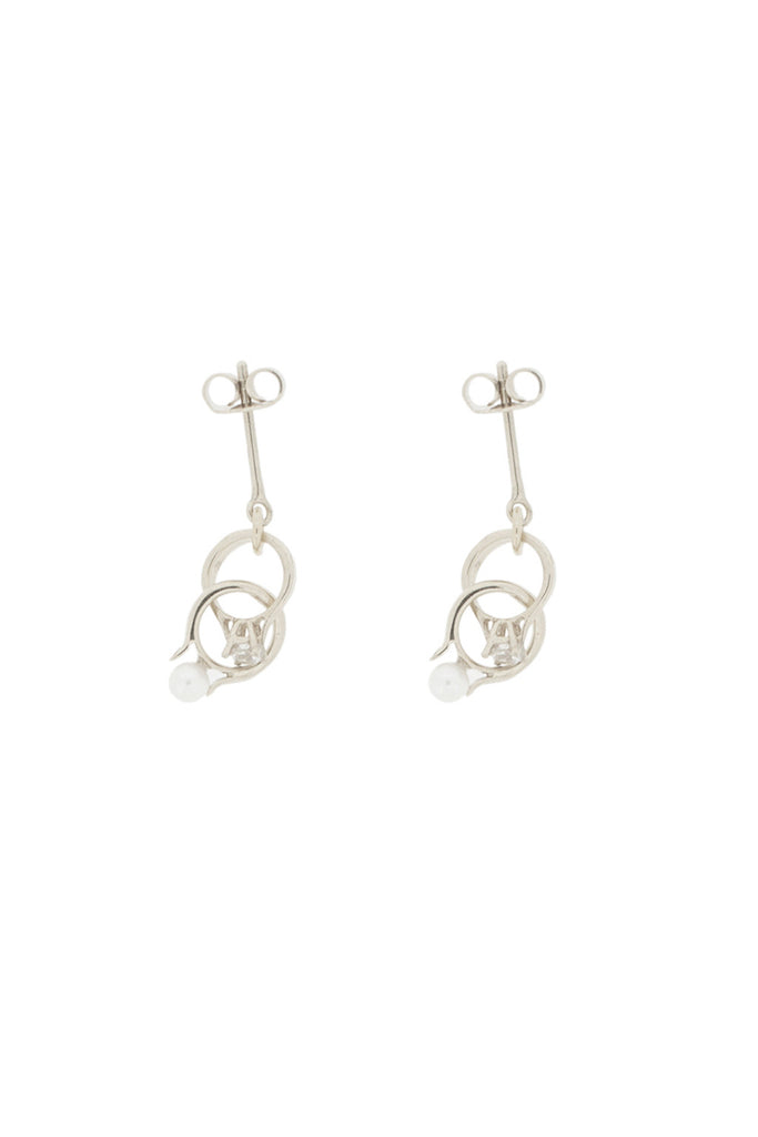 SILVER INTERLOCKING PEARL AND CRYSTAL RING EARRINGS