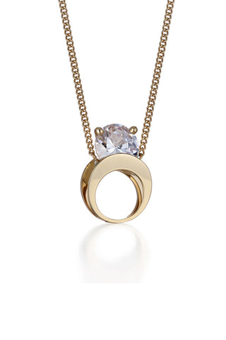 YELLOW GOLD POCKET CRYSTAL PENDANT NECKLACE