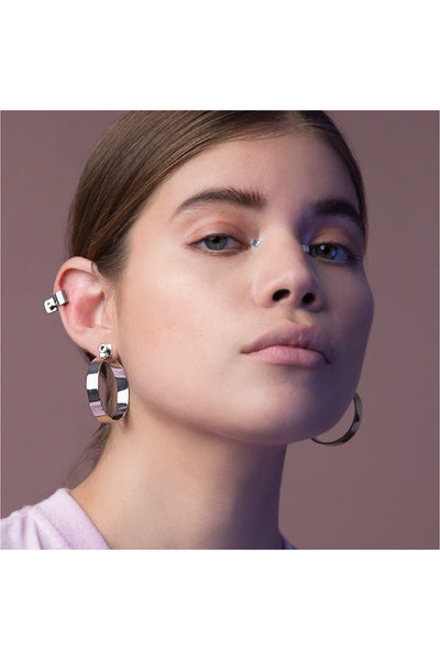SILVER SCREW HOOP EARRINGS