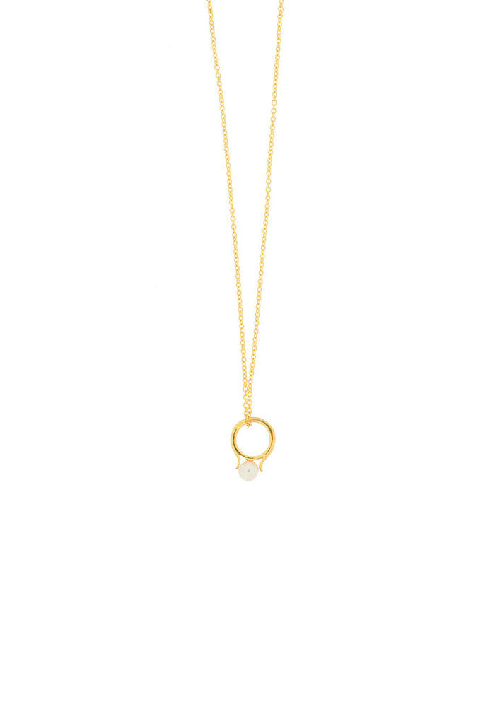 GOLD PEARL RING PENDANT NECKLACE