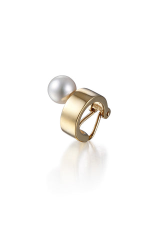 YELLOW GOLD PEARL EAR CUFF
