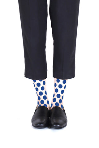 BLUE DOT FLOCKED SOCKS