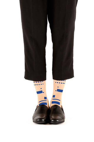 BLUE MORSE CODE FLOCKED SOCKS