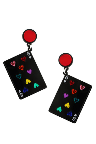 PLAY YOUR CARDS RIGHT BLACK EARRINGS