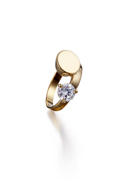 YELLOW GOLD DOUBLE MIRROR CRYSTAL RING