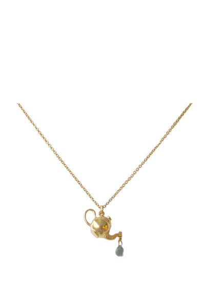 GOLD TEA POT NECKLACE WITH CITRINE TEA DROP
