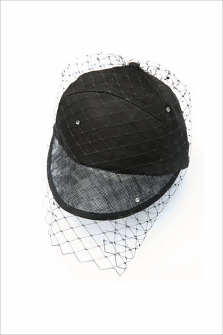 BLACK BASEBALL CAP WITH DIAMANTE VEIL