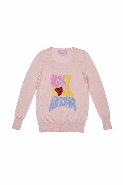 PINK MAKE LOVE NOT WAR JUMPER