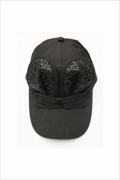 BLACK GLITTER MOUSE CAP