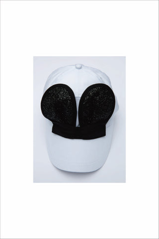 WHITE MOUSE CAP WITH BLACK GLITTER EARS