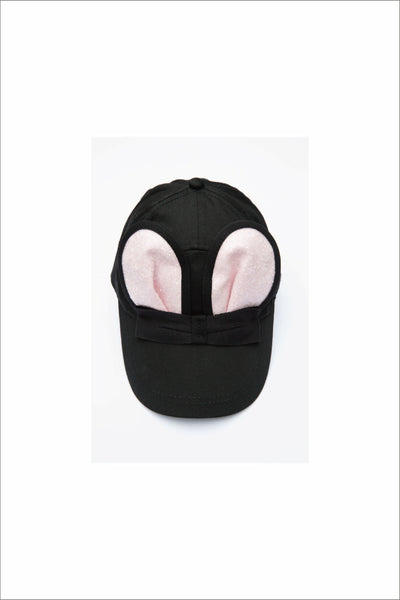 BLACK MOUSE CAP WITH PINK GLITTER EARS