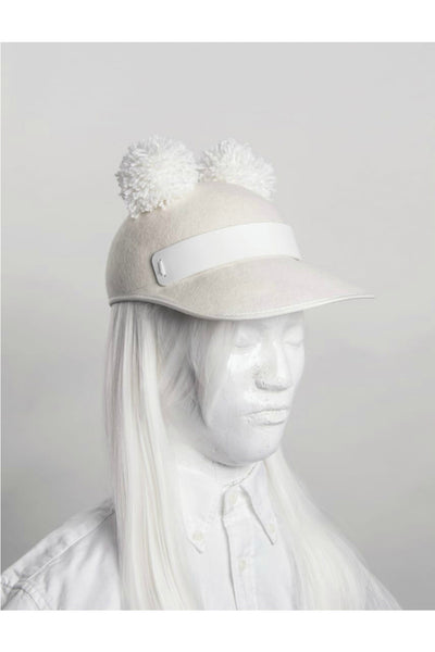 CREAM WOOL CAP WITH PERSPEX TRIM +POM POM EARS