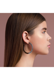 SILVER BIG FLAT HOOP EARRINGS