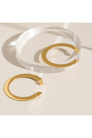 GOLD BIG FLAT HOOP EARRINGS