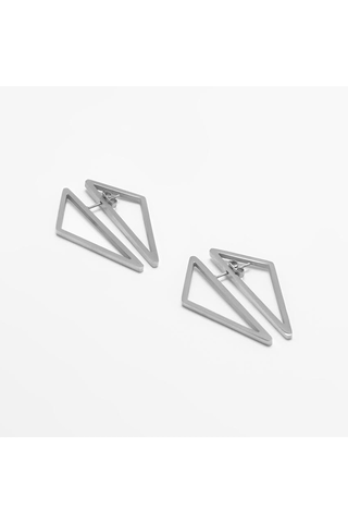 SILVER DOUBLE TRIANGLE EARRINGS