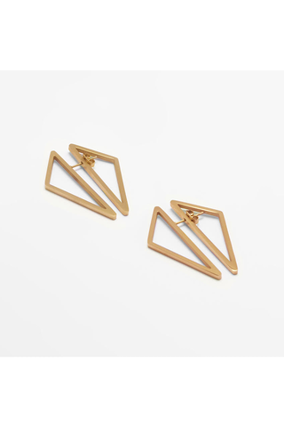 GOLD DOUBLE TRIANGLE EARRINGS