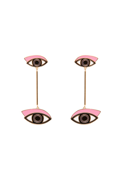 ENAMEL EYES BAR DROP EARRINGS