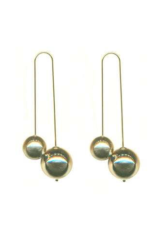 GOLD DOUBLE BALL DROP EARRINGS