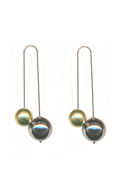 GOLD + RHODIUM DOUBLE BALL DROP EARRINGS