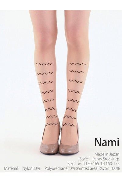 BLACK WAVE FLOCKED TIGHTS