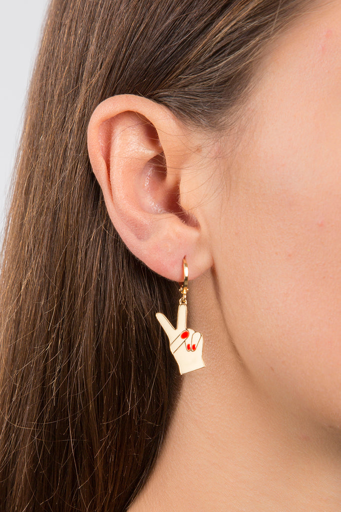 ENAMEL PEACE HOOP EARRINGS