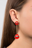 ENAMEL LIPS BAR DROP EARRINGS