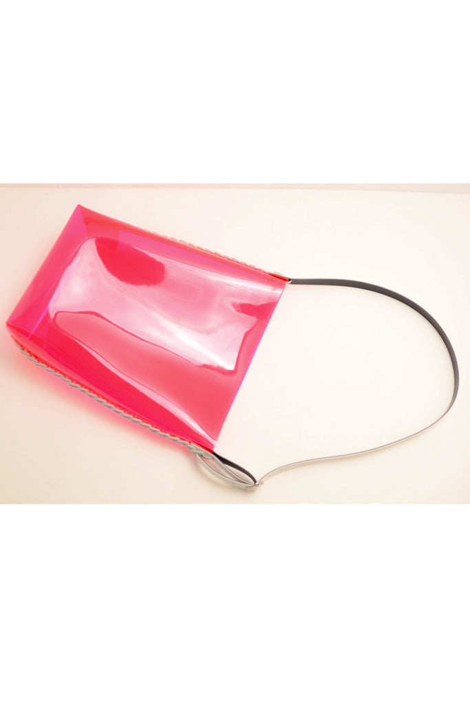 RED CLEAR PVC SHOULDER BAG