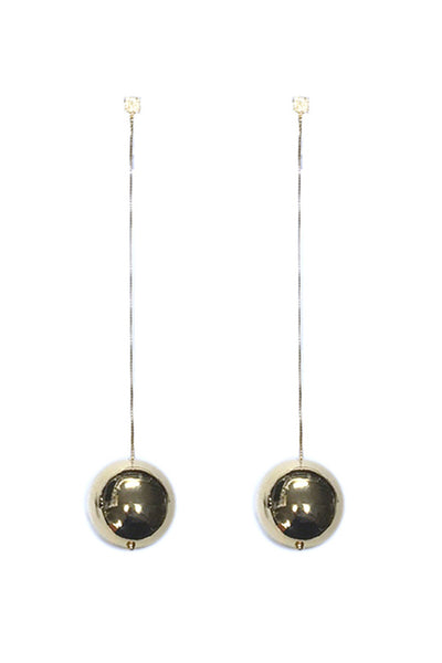 RHODIUM BALL DROP EARRINGS