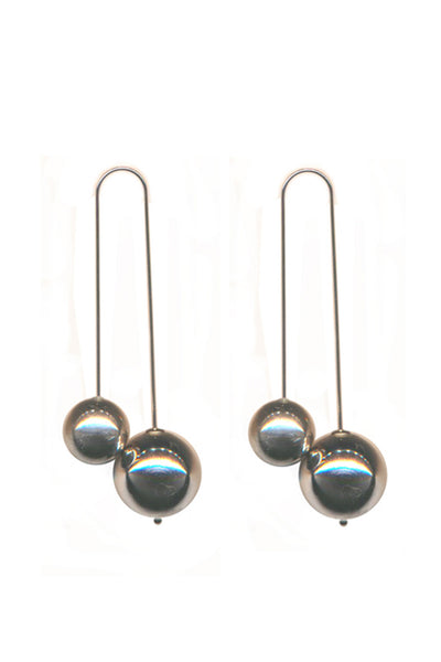 RHODIUM DOUBLE BALL DROP EARRINGS