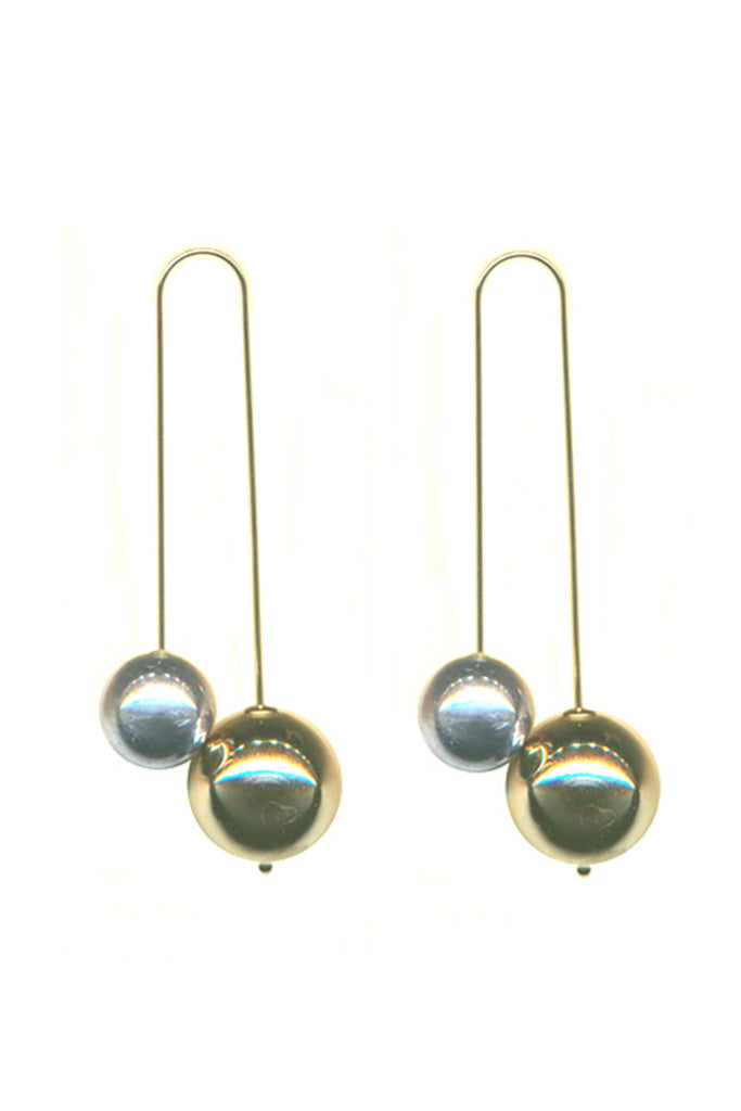 RHODIUM + GOLD DOUBLE BALL DROP EARRINGS