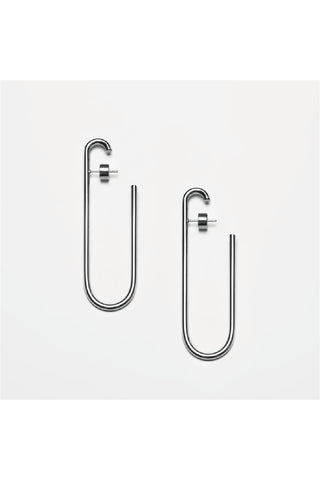 SILVER LONG HOOPS EARRINGS