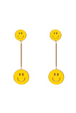 ENAMEL SMILEY FACE BAR DROP EARRINGS