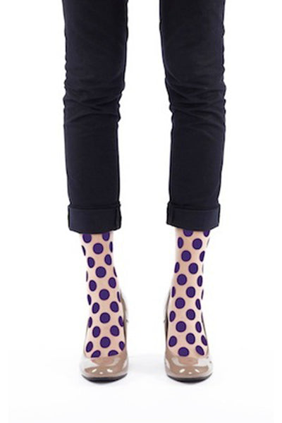 PURPLE DOT FLOCKED SOCKS