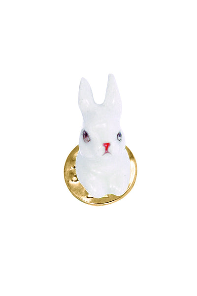 WHITE RABBIT BROOCH PIN