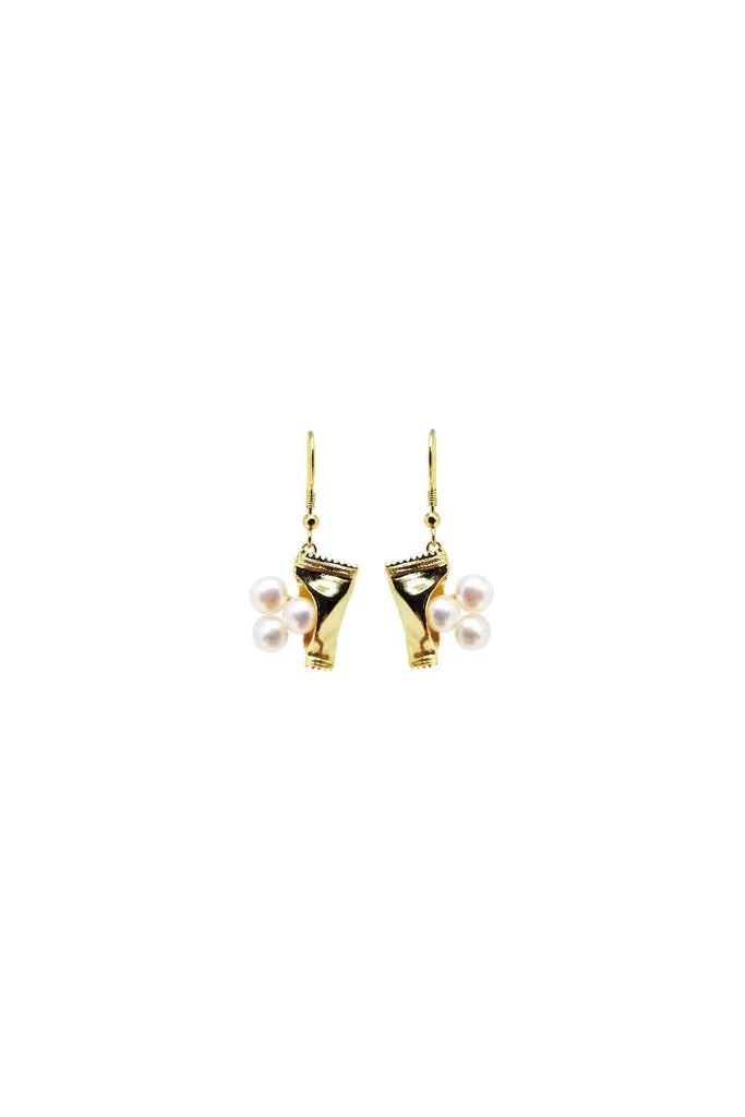 FRESH WATER PEARLS SWEETS GOLD DROP EARRINGS