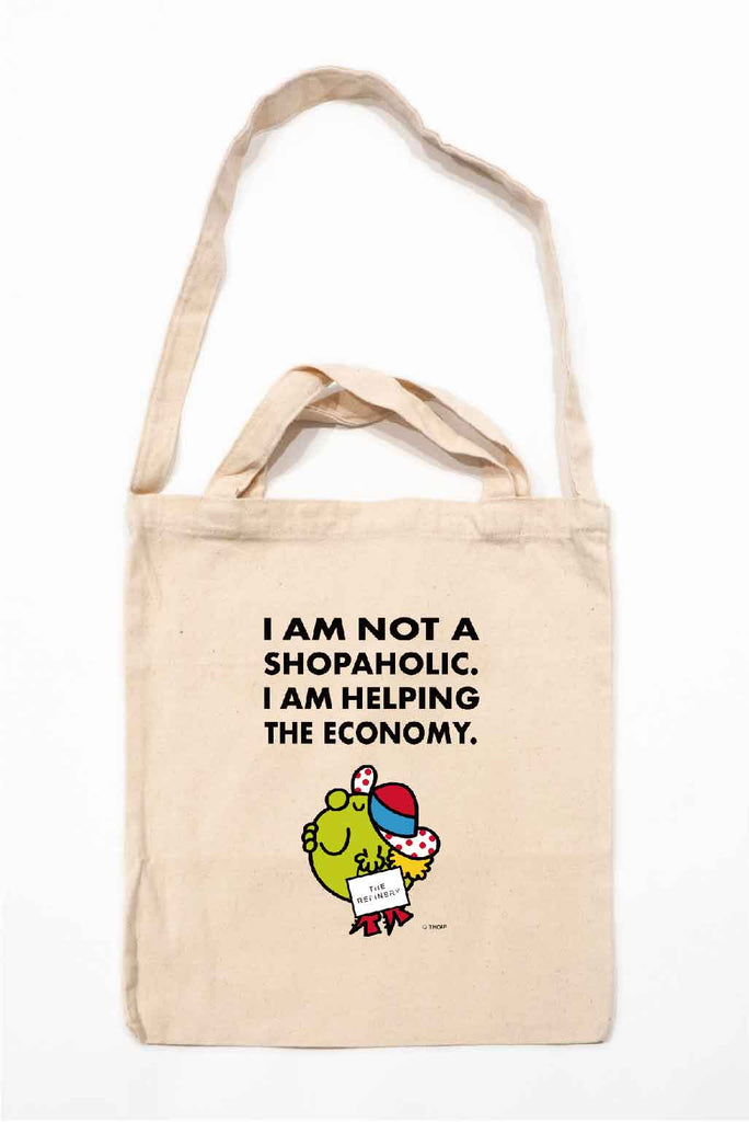 """I AM NOT A SHOPAHOLIC. I AM HELPING THE ECONOMY"" LITTLE MISS SPLENDID TOTE BAG"