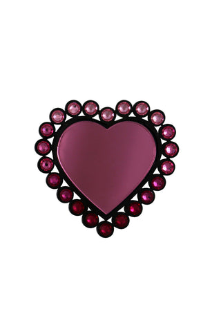 Pink Queen of hearts brooch