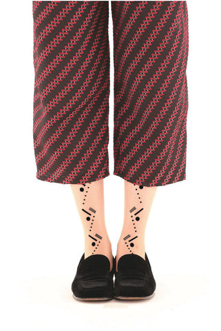 BLACK ZIG ZAG FLOCKED SOCKS